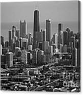 Chicago Looking East 01 Black And White Canvas Print