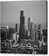 Chicago Looking East 02 Black And White Canvas Print