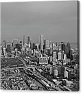 Chicago Looking North 01 Black And White Canvas Print