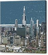 Chicago Looking West In A Snow Storm Digital Art Canvas Print