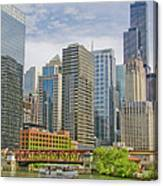 Chicago Loop Downtown Skyline From Chicago River   Canvas Print