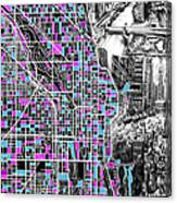 Chicago Map Drawing Collage 4 Canvas Print