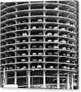 Chicago Marina City Parking Bw Canvas Print