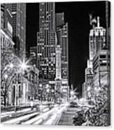 Chicago Michigan Avenue Light Streak Black And White Canvas Print
