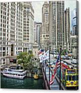 Chicago Michigan Avenue V Hdr Textured Canvas Print
