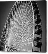 Chicago Navy Pier Ferris Wheel In Black And White Canvas Print