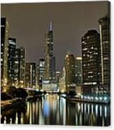 Chicago Night River View Canvas Print