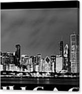 Chicago Panorama At Night Canvas Print