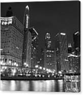 Chicago River At Night Black And White Canvas Print