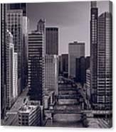 Chicago River Bridges South Bw Canvas Print
