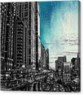Chicago River Hdr Sc Textured Canvas Print