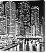 Chicago River Skyline At Night Black And White Picture Canvas Print