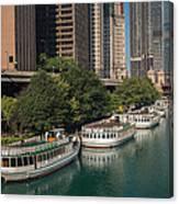 Chicago River Tour Boats Canvas Print