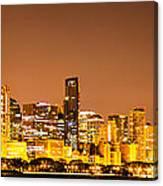 Chicago Skyine At Night Panoramic Photo Canvas Print