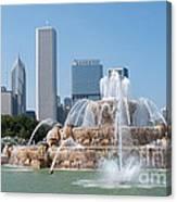 Chicago Skyline And Fountain Canvas Print