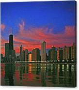 Chicago Skyline At Night Canvas Print