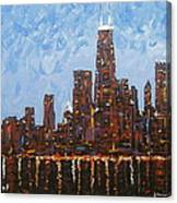 Chicago Skyline At Night From North Avenue Pier Canvas Print