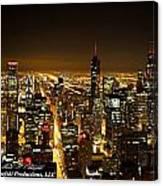 Chicago Skyline At Night I Canvas Print