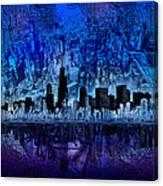 Chicago Skyline Blue Version Canvas Print