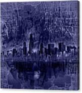 Chicago Skyline Blueprint Canvas Print