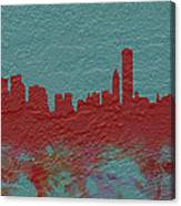 Chicago Skyline Brick Wall Mural  Canvas Print