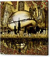 Chicago Skyline Drawing Collage 3 Canvas Print