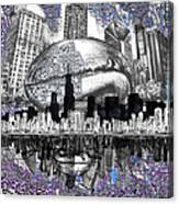 Chicago Skyline Drawing Collage Canvas Print
