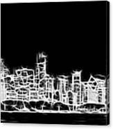 Chicago Skyline Fractal Black And White Canvas Print