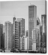 Chicago Skyline In Black And White Canvas Print