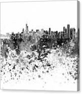 Chicago Skyline In Black Watercolor On White Background Canvas Print