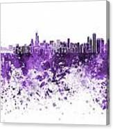 Chicago Skyline In Purple Watercolor On White Background Canvas Print