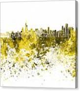 Chicago Skyline In Yellow Watercolor On White Background Canvas Print