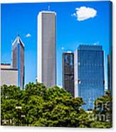 Chicago Skyline With Grant Park Trees Canvas Print