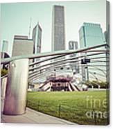 Chicago Skyline With Pritzker Pavilion Vintage Picture Canvas Print