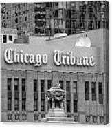 Chicago Tribune Facade Signage Bw Canvas Print