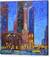 Chicago Water Tower At Night Canvas Print