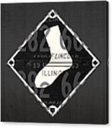Chicago White Sox Baseball Vintage Logo License Plate Art Canvas Print