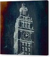 Chicago Wrigley Clock Tower Textured Canvas Print