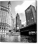 Chicago Wrigley Tribune Equitable Buildings Black And White Phot Canvas Print