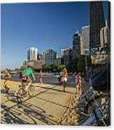 Chicago's Lakefront Bike Path On A Summer Evening Canvas Print