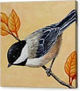 Chickadee And Autumn Leaves Canvas Print
