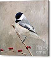 Chickadee And Berries Canvas Print