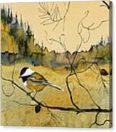 Chickadee In Dancing Pine Canvas Print