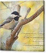 Chickadee With His Prize And Verse Canvas Print