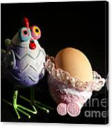 Chicken With Her Baby Egg Canvas Print