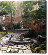 Child And Fountain Canvas Print