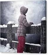 Child In Snow Canvas Print