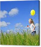 Child Running With A Balloon Canvas Print