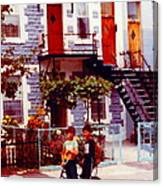 Childhood Montreal Memories Balconies And Bikes The Boys Of Summer Our Streets Tell Our Story Canvas Print