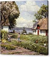 Children In A Farmyard Canvas Print